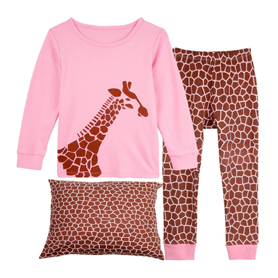 "Girls Pajamas ""Giraffe"" Toddler Clothes Long Sleeve Kids Sleepwear Set"