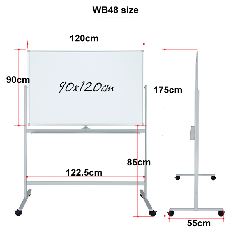 Mobile Dry Erase Magnetic Double Sided Whiteboard Cart With Aluminum Frame
