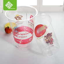 16oz PET disposable drinking cup with customized logo and lid