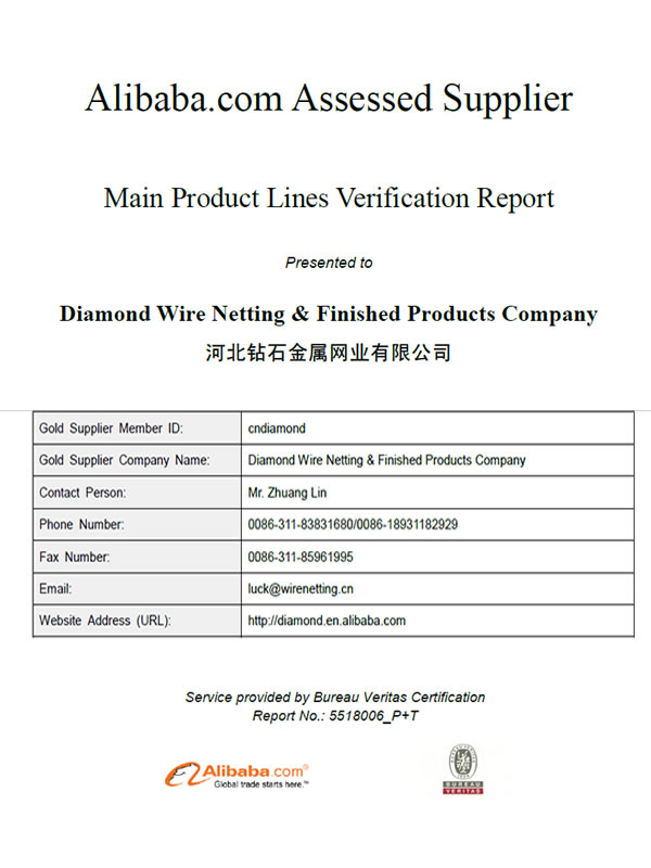 Quality Control & Certificate - Diamond Wire Netting & Finished ...