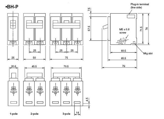 2 poles bh-p mini circuit breaker