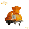 Towable cement concrete mixer with pump