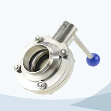 Sanitary pull handle welded butterfly valve
