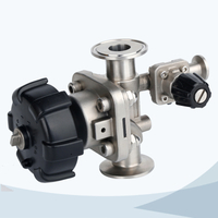 Sanitary clamped diaphragm valve with drain