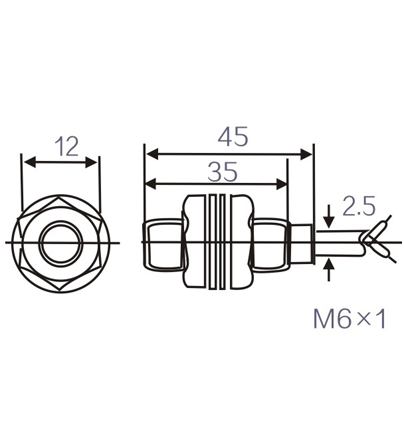 LM06 outer diameter 6mm cylinder inductive proximity switch