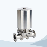 stainless steel hygienic grade clamped pneumatic diaphragm valve with ss actuator