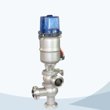 Sanitary pneumatic flow change over valve with control cap