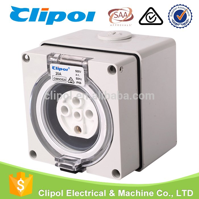 Industrial outlet SAA standard polycarbonate waterproof 5 pin 20 amp ...
