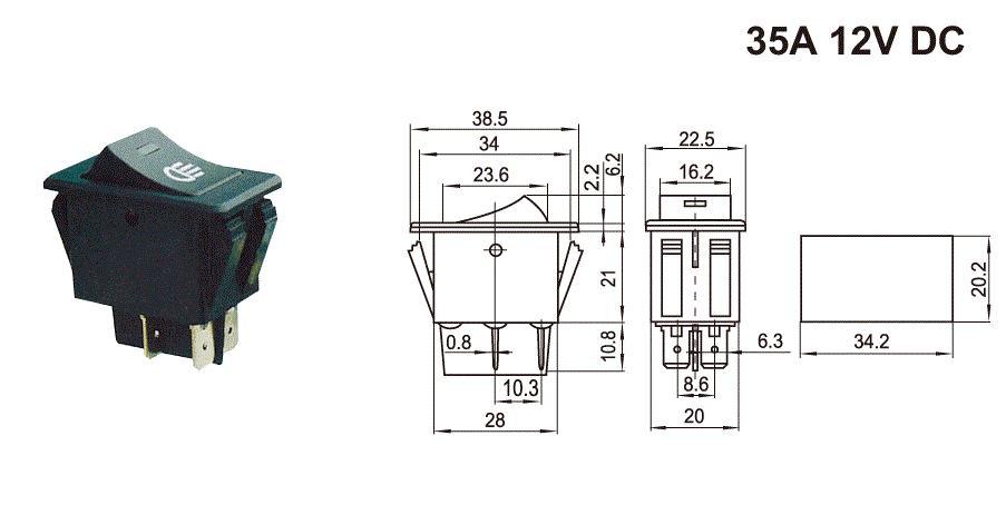 30A rocker switch for auto head light