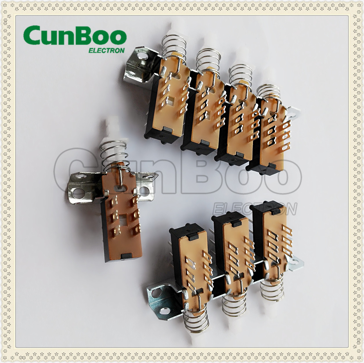 5 push switch connected with frame