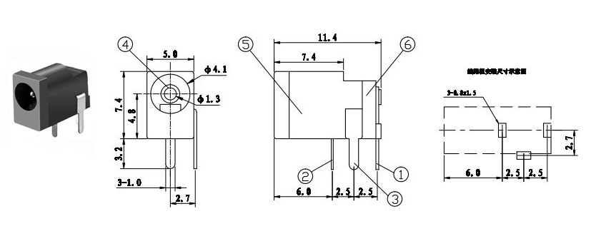 DC-002 DC converter jack connector