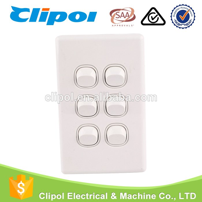 Modern wall switch clipol brands six gang australia standard home ...
