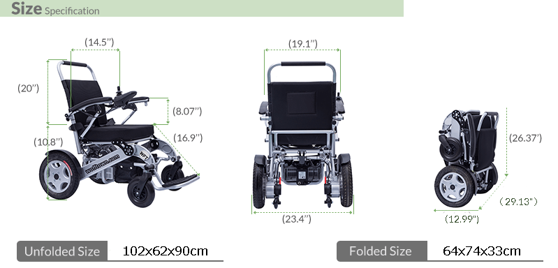 3 wofftown-folding wheelchair Size