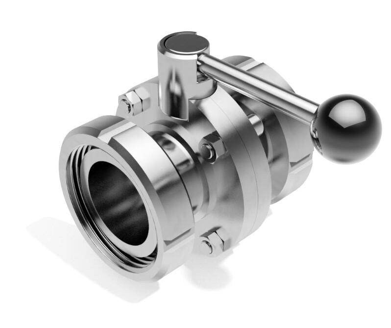 Sanitary Stainless Steel Female Threaded Butterfly Valve with Union Ends