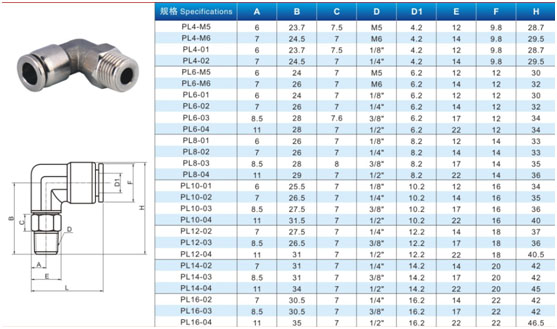 Stainless Steel Male Elbow Pneumatic Fittings