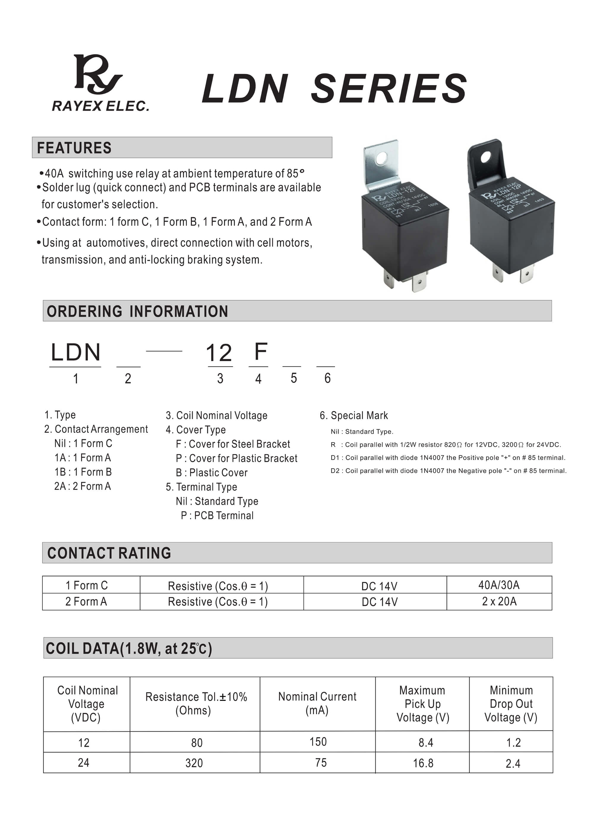 Relay Contact Form Reed Protection Diagram 2 Ldn Series Buy Automotive Block Board