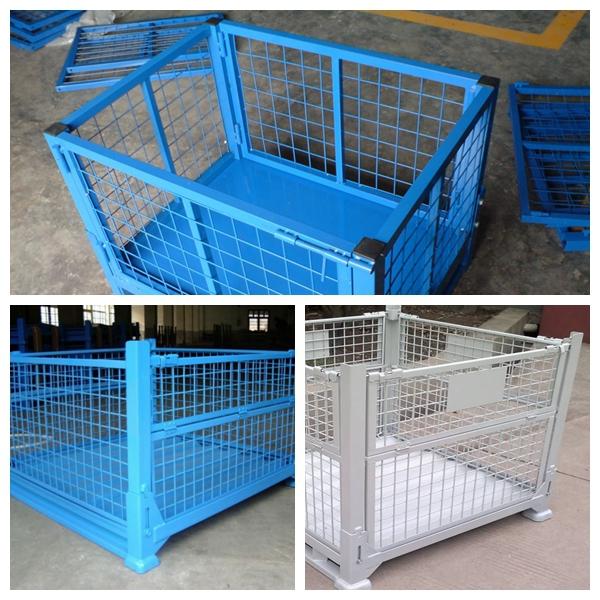 warehouse mesh box wire cage metal bin storage container