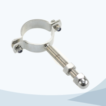 Sanitary round pipe holder with bolt and nut