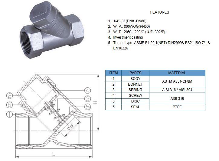y type piston check valve