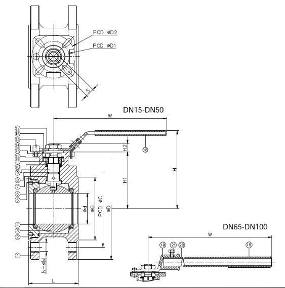 Vávula de bola de la oblea con el postizo de montaje de la ISO 5211