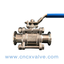 3PC Sanitary clamped Ball Valve with iso5211 high mounting pad