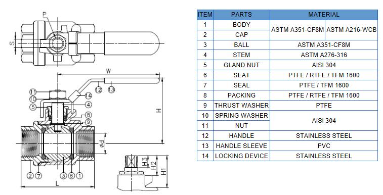 2pc din3202 m3 ball valve
