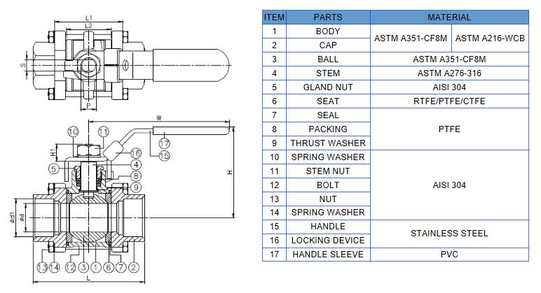 3pc a216wcb ball valve