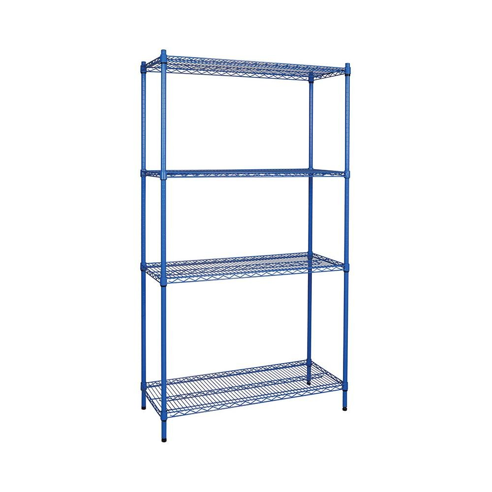 Heavy Duty Storage Shelf Adjustable Wire Shelving Coated Black from ...