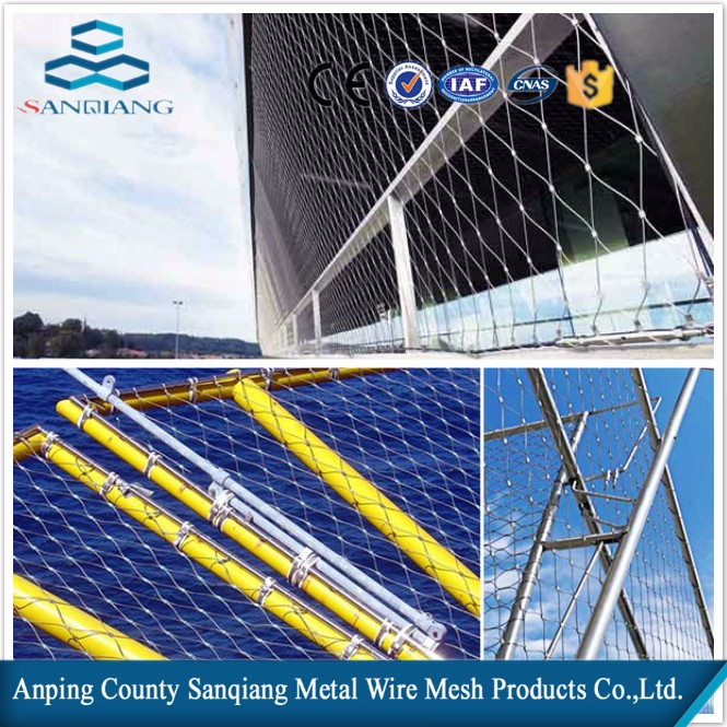 stainless steel wire rope ferrule mesh/safety webnet balustrade for anti-hill mesh, aviary mesh,zoo fencing