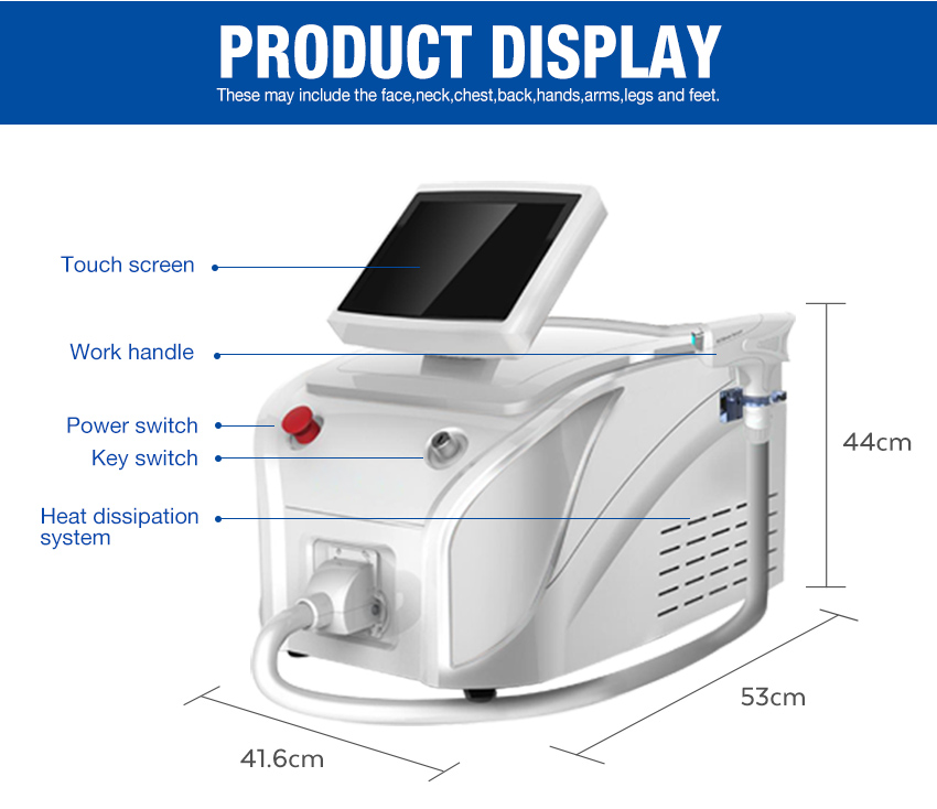 portable laser hair removal machine display