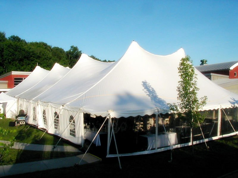40ft X60ft Pegs and Pole Tent with White PVC Plain Walls and Windows