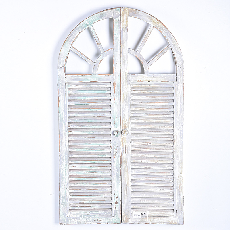 Shabby Chic Vintage Rustic White Handmade Decorative Wooden Window Shutter Wall Mirror