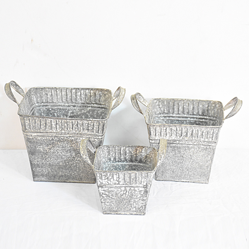 Set 3 Small Square Vintage Retro Galvanized Sheet Metal Planter