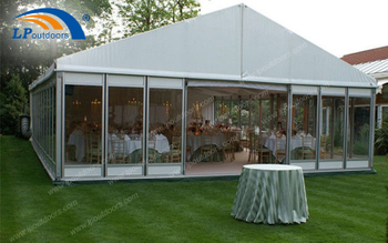 Glass Door Aluminum Outdoor Wedding Marquee Tent Held A 100 People Banquet