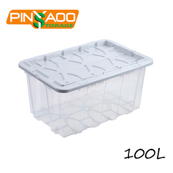 100L Large Capacity Outdoor Plastic Storage Tote Box With Lid Supplier