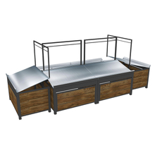 Metal And Wood Fruit And Vegetable Display Stand